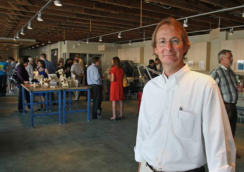 Richard Gajan at the grand opening of the Fab Lab in Tulsa.