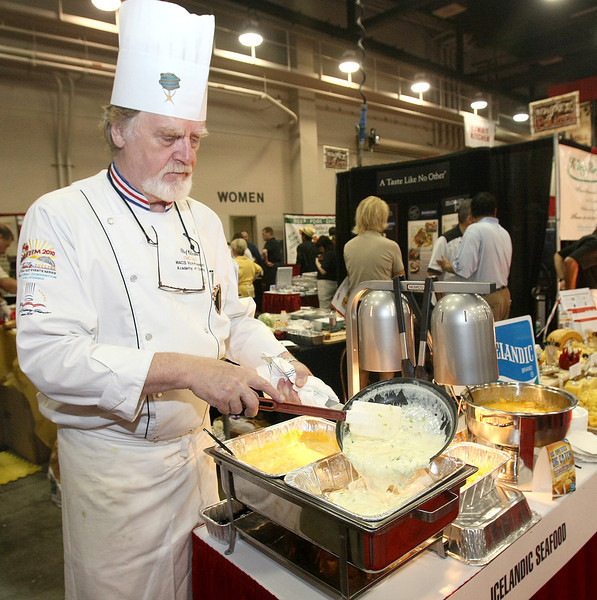 Corporate Chef Hilmar Jonsson with Icelandic prepares a fish sauce at the 2011 Oklahoma Restaurant Convention & Expo at the Cox Center Wednesday. PHOTO BY MAIKE SABOLICH