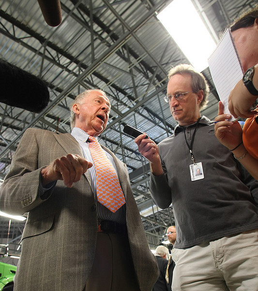 Boone Pickens answers reports questions at the dedication of the Tulsa Tech Automotive, Robotics and Manufacturing campus in Broken Arrow.