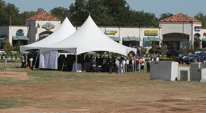 Tents are set up for the groundbreaking on the Village on Main in Jenks Thursday.