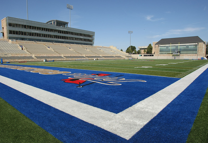 The West stands and Case Athletic facility at the Skelly Stadium at the University of Tulsa.