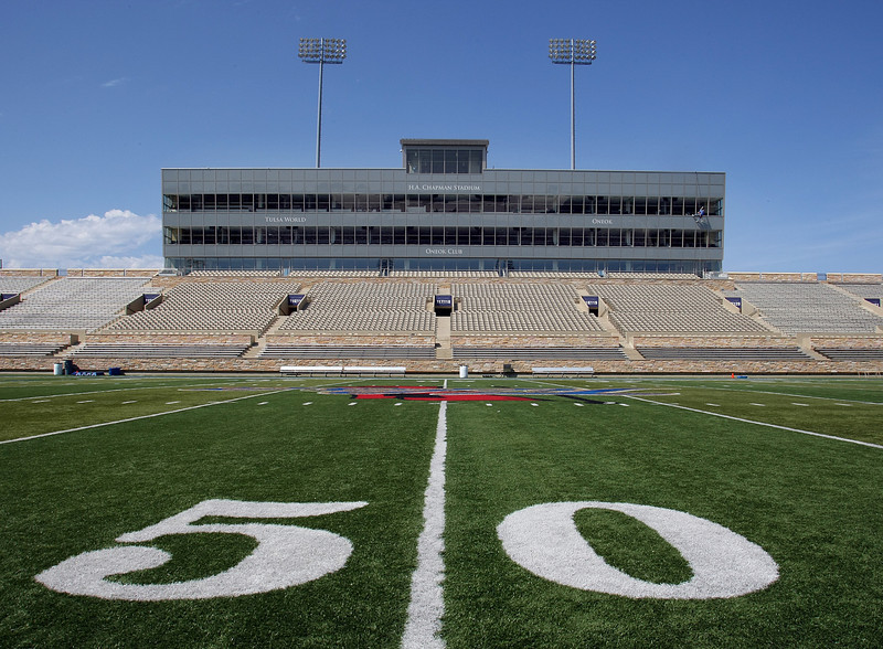 The West stands of Skelly Stadium at the University of Tulsa.