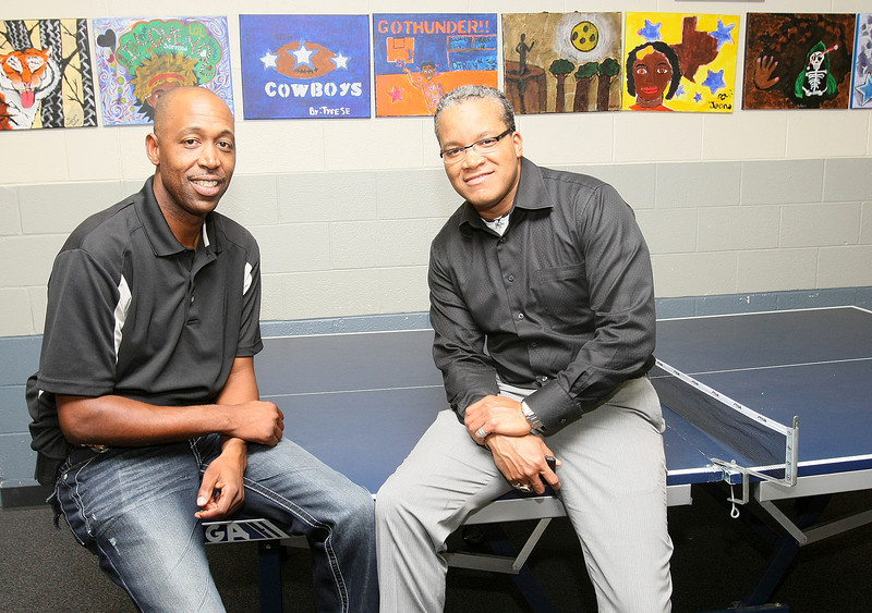 Sgt. Wayland Cubit, head of Oklahoma City Police Department's F.A.C.T. program, and Michael Eddens, director of Arts Education programs for the Oklahoma Arts Council. PHOTO BY MAIKE SABOLICH