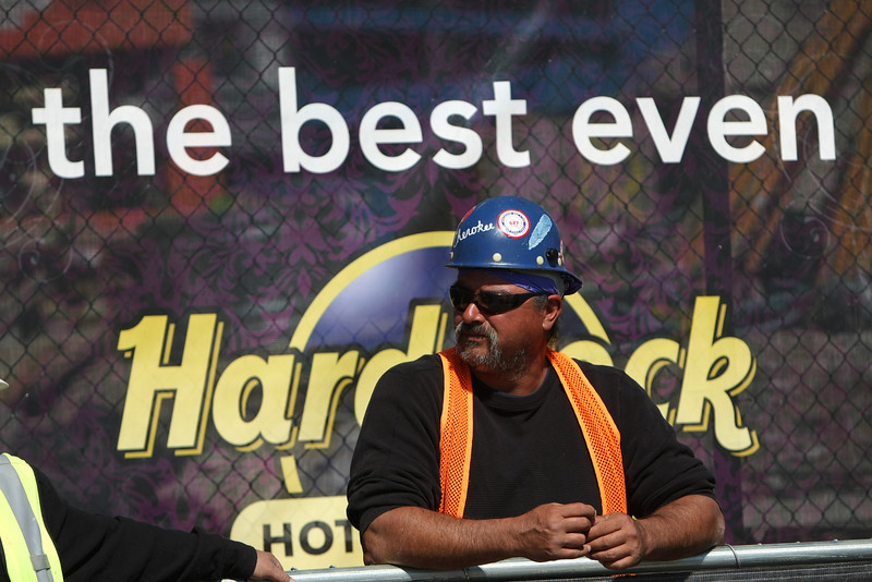 Iron Worker Danny Bell observes the topping off ceremony at the Hard Rock Casino in Catoosa Monday.