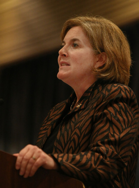 Esther George, President and CEO of the Federal Reserve Bank of Kansas City, gives her presentation in Tulsa.