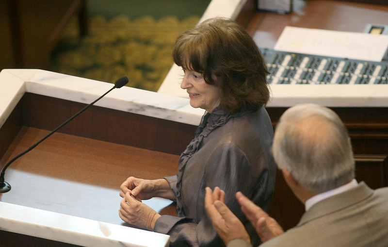 Carolyn Wills, daughter of Oklahoma artist Bob Wills, speaks on the House floor Wednesday. PHOTO BY MAIKE SABOLICH