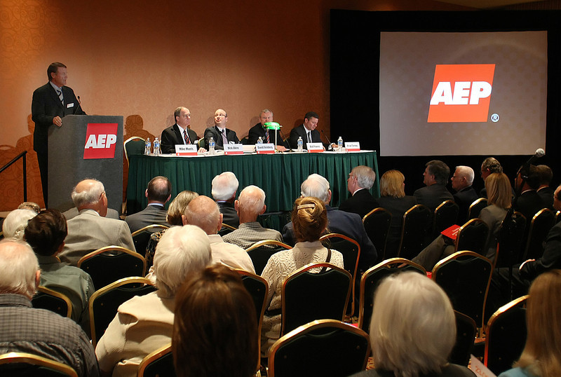 Michael Morris President and Chief Executive Officer of American Electric Power leads the shareholders meeting in Tulsa.