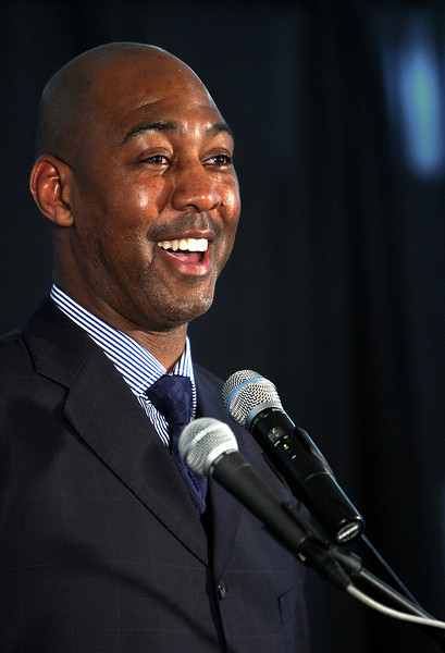 Danny Manning, Tulsa University's  new men's basketball coach, reacts to a question during an afternoon press conference.