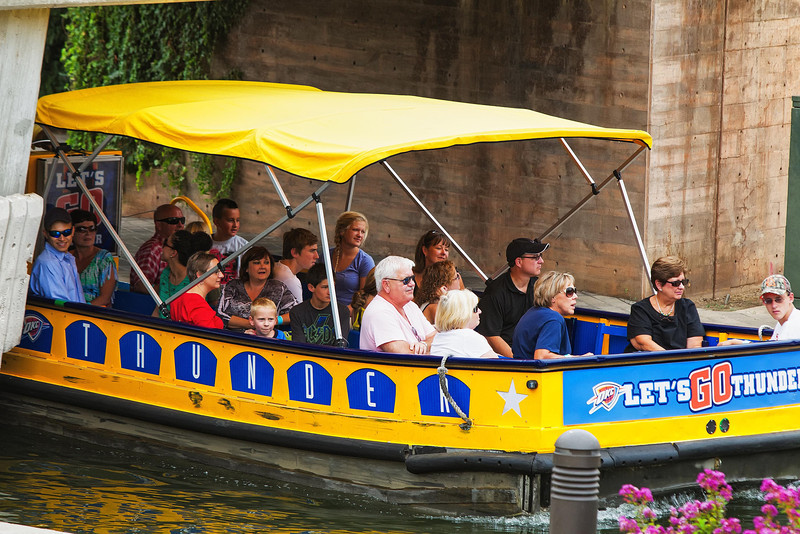 A full boat on the Bricktown canal river tour.