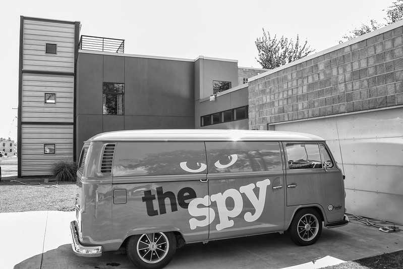 The Spy studio van in fron of their office in Midtown.