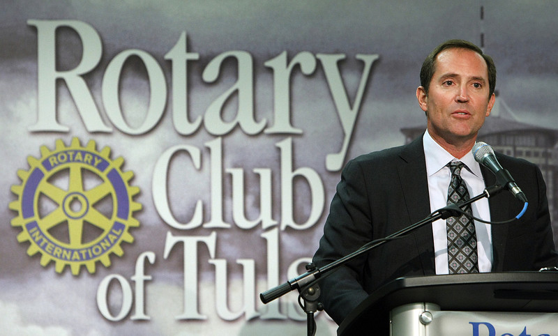 Ralph Hill, Chief Executive Officer of WPX Energy, speaks at the Tulsa Rotary Luncheon Wednesday.