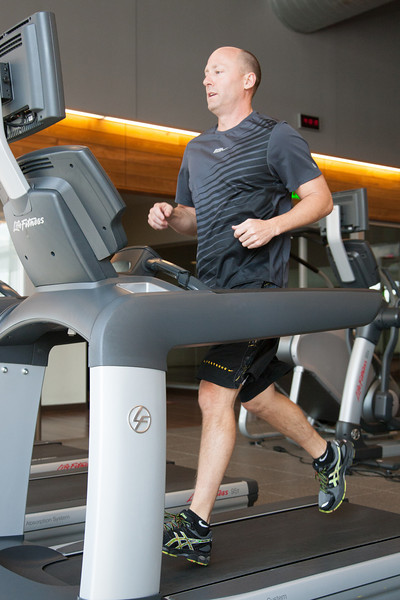 Devon employee Alan Marcum is able to work out at work in their gym know as The Well.