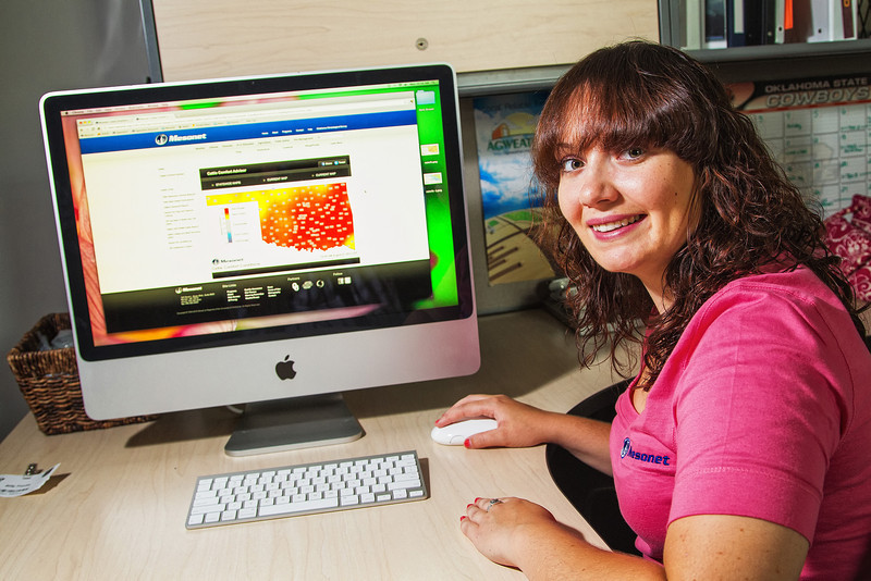Agricultural Extension Assistant Stephanie Bowen works for Mesonet, located at the National Weather Center in Norman.