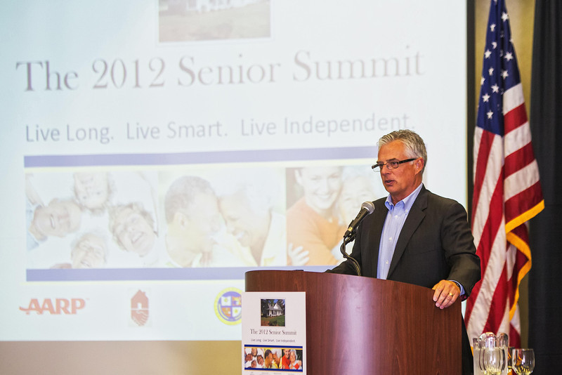 Mike Means, vice-president of the Oklahoma Home Builder's Association, spoke at the AARP Summit Meeting Tuesday morning.