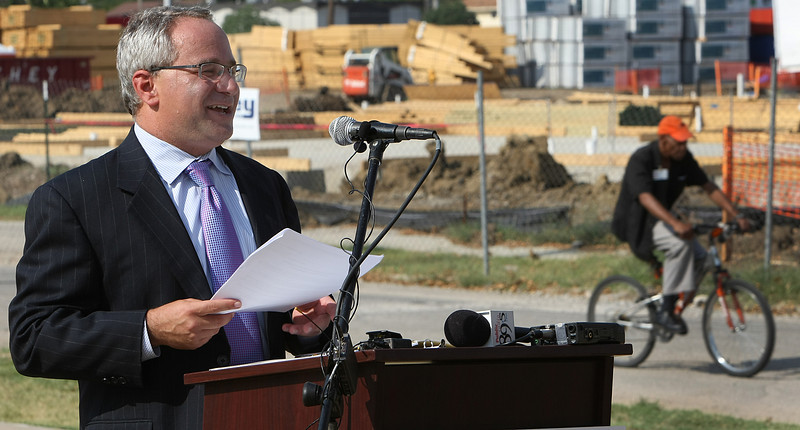 Ken Levit, Executive Director of the George Kaiser Family Foundations, speaks at a press conference announcing the construction of the Kendall-Whittier West Park in Tulsa.