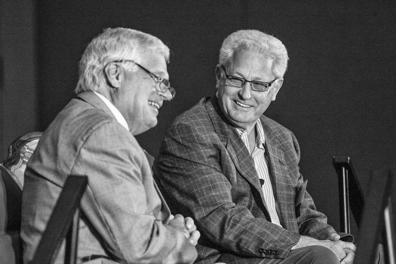 Carl Edwards (left) interviews the CEO and founder of Hobby Lobby, David Green (right) at the International Council of Shopping Centers held at he Cox Convention Center.
