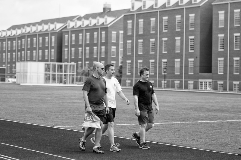 Chesapeak employees making use of the track located on the company's campus.