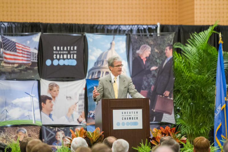 Senator Tom Cohburn spoke at the Greater Oklahoma City Chamber of Commerce breakfast Tuesday morning held at the Cox Center.