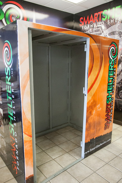 A model storm shelter at Smart Shelters located at 4000 S Prospect. Smart Shelters are made in Oklahoma and can be customized to accomadate different sizes.