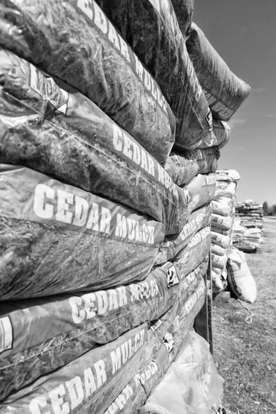 Bags of cedar mulch at TLC Nursery on Memorial in Oklahoma CIty.