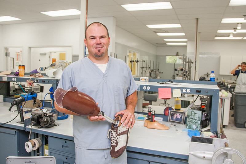 Kevin Curd makes custom prostetics at Scott Sabolich Prostetics in Oklahoma City.
