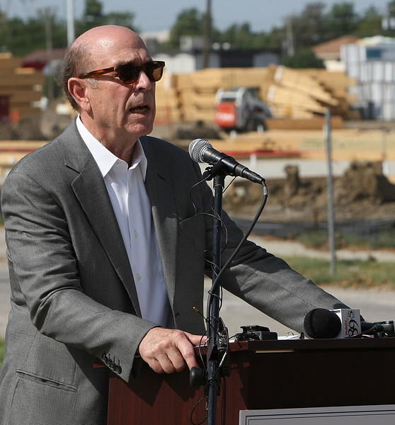 Richeard Baron speaks at a press conference announcing the construction of the Kendall-Whittier West Park in Tulsa.