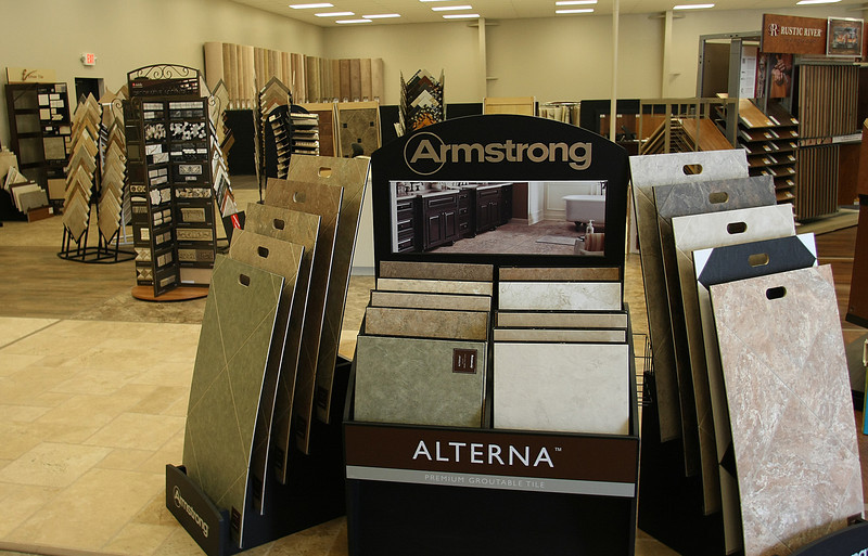 Carpet and tile displays at the Tulsa Hills Shopping Center Carpet One store.