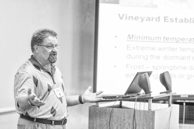 Andrew Snyder spoke on staring a vinyard for use in wine at the Women in Agriculture conferance at Moore-Norman Technology.