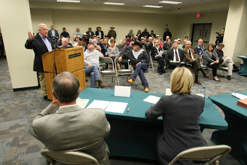 Phillip Kirk, Commissioner of the oklahoma Horse Racing Commission, speaks before the Tulsa Fairgrounds board Tuesday.