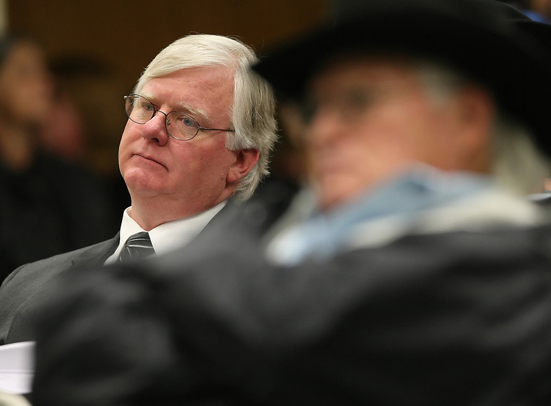 Lawyer Stratton Taylor listens to the Tulsa Fairgrounds Commissioners during a hearing on whether to abolish horse racing at the Fair Meadows Racetrack.  Straton represents the Thoroughbred Racing Association and the Oklahoma Quarter horse Association.