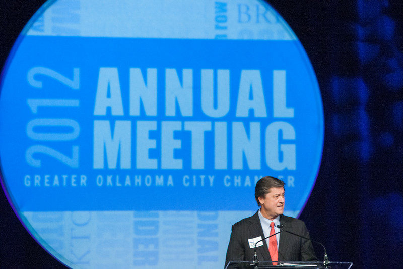 OGE president Pete Delaney was introduced as the incoming chairman for the Greater Oklahoma City Chamber of Commerce. He is replaceing Carl Edwards, partner at Price Edwards & Company.