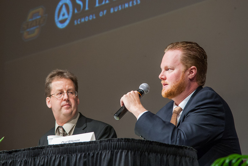 Dan Rickman, Regents Proffesor of Economics at Oklajoma State University and Chad Wilkerson, Vice President of the Federal Reserve Branch in Oklahoma CIty