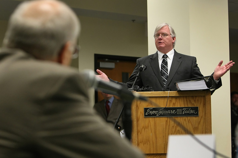 Lawyer Stratton Taylor speaks to the Tulsa Fairgrounds Commission during a hearing on whether to abolish horse racing at the Fair Meadows Racetrack.  Straton represents the Thoroughbred Racing Association and the Oklahoma Quarter horse Association.