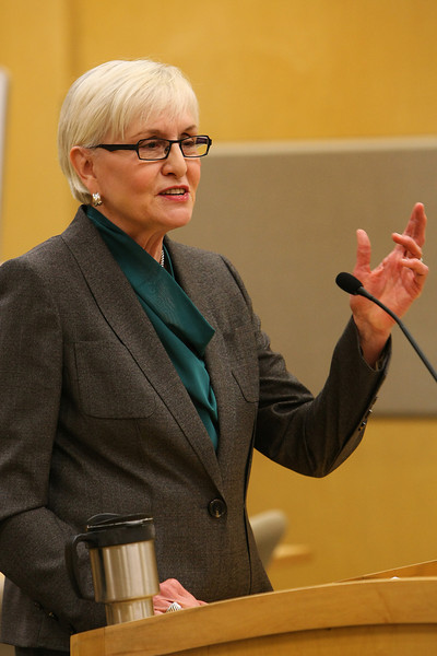 Marilyn Hughes, Retired Executive Director <br /> Oklahoma Ethics Commission, speaks at the University of Tulsa College of Law faculty and alumni showcase Monday.