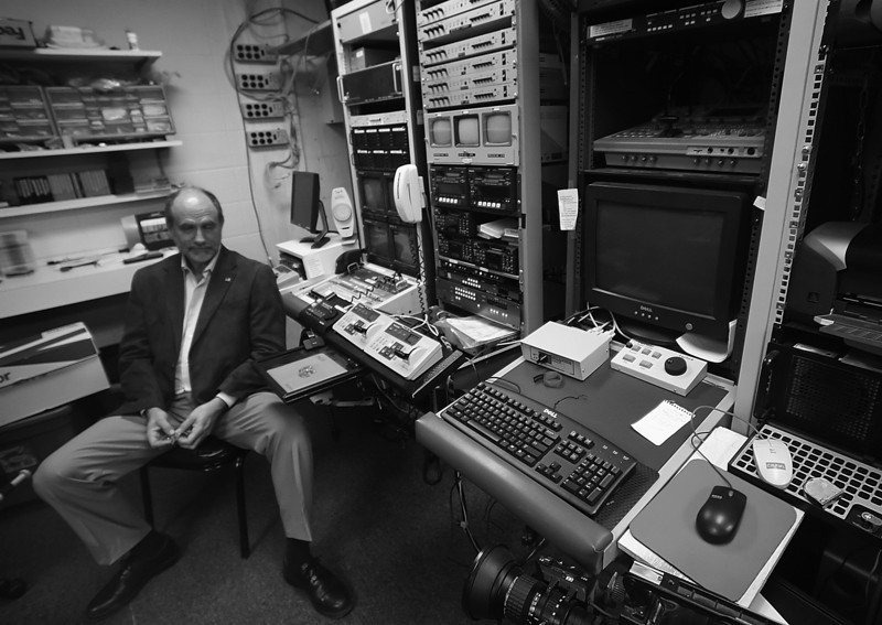 Alan Stroup, Owner of Media Link, sits in the editing bay of his vidoe production company.  Media Link was the sole provider of video services to the Fair Meadows racetrack and will be liquidated now that horse racing has been halted.