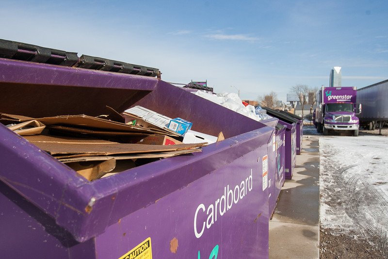 A cardboard recycling bin at Greenstar Recycling in Oklahoma CIty.