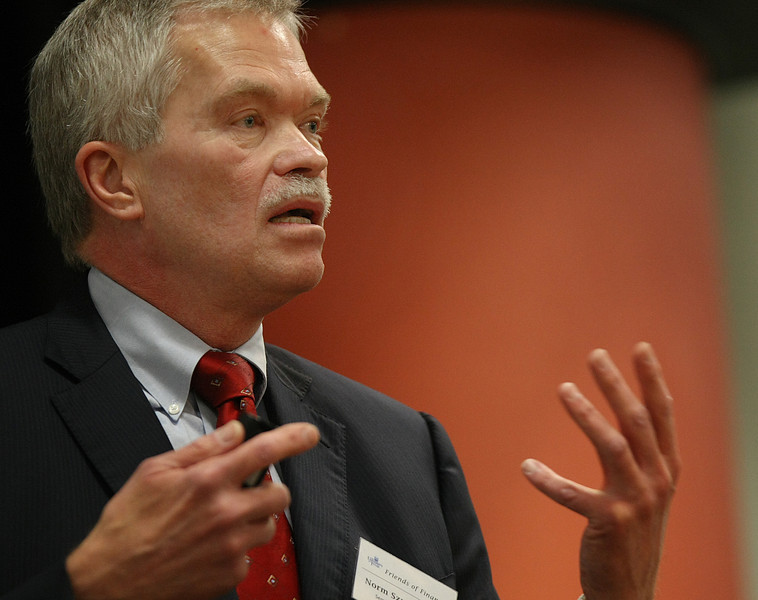 Norm Szydlowski, President and CEo of SemGroup gives his presentation at the Friends of Finance luncheon in Tulsa.