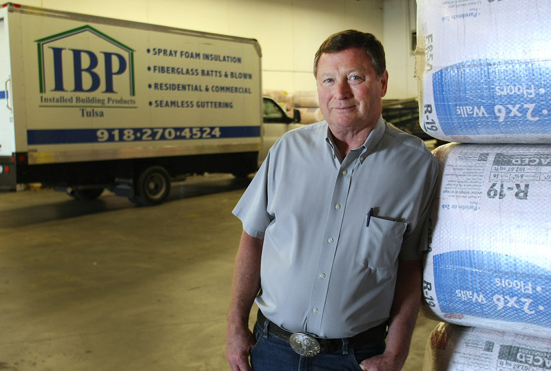 Brad Boone,branch manager of Installed Building Products of Tulsa, at the companies warehouse.