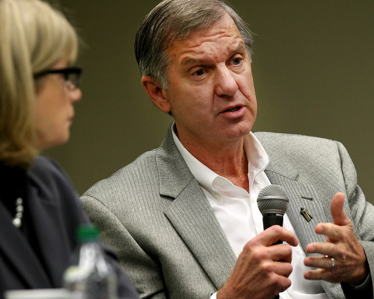 Tulsa Fair Board President/CEO Mark Andrus speaks at a recent meeting discussing whether to continue live horse racing events at Fair Meadows.  Andrus voted against continuing racing at the fairgrounds in 2013.
