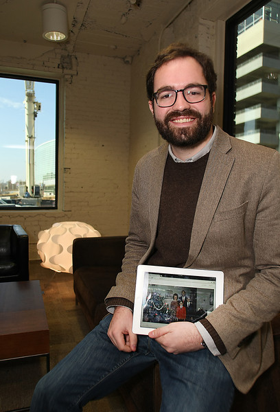 Dustin Curzon, founder of narratable, pauses for a photo at his downtown Tulsa office.