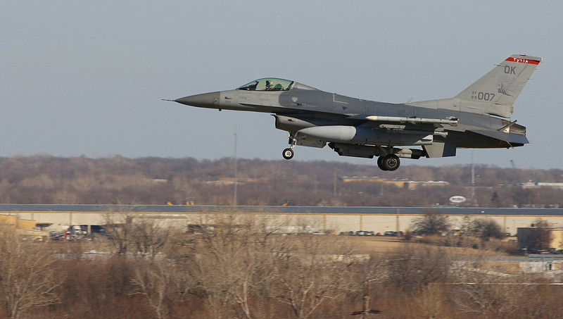 An Tulsa Air National Guard F-16 Lands at the Tulsa International Airport Wednesday.