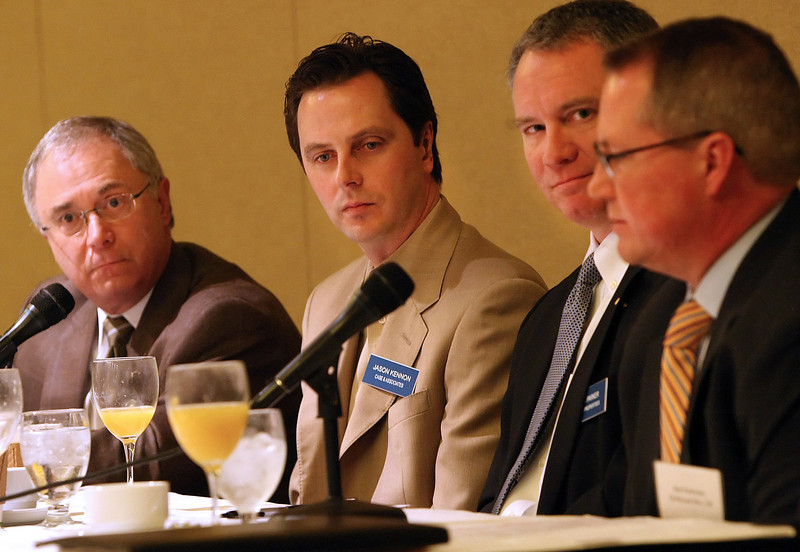 NAIOP Breakfast panelists Stephen Schuller, Jason Kennon,  Bob Parker and Robert Pielsticker.