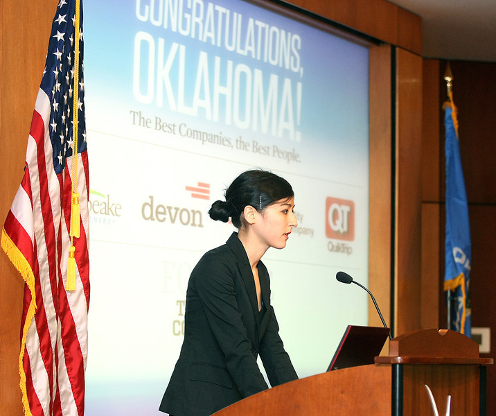 Mina Kimes, Fortune journalist, addresses Fortune's Best Places to Work in Oklahoma Wednesday at the History Center. PHOTO BY MAIKE SABOLICH