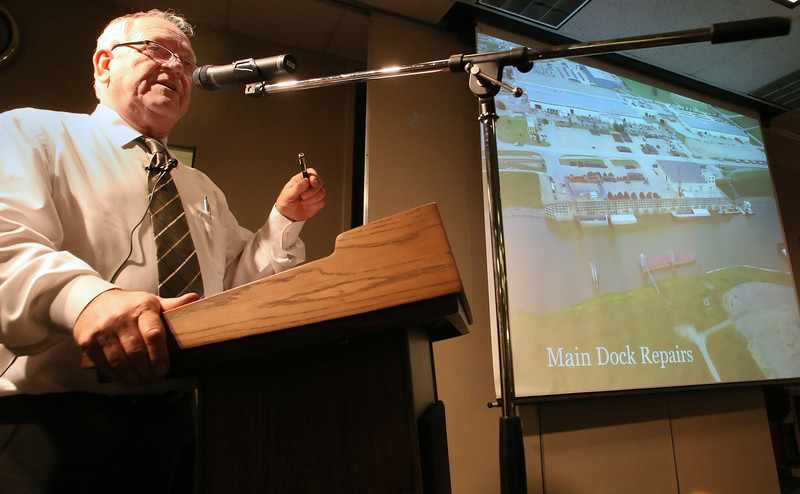 Port of Catoosa Director Bob Portiss gives his presentation at The State of the Port luncheon Monday at the Port of Catoosa.
