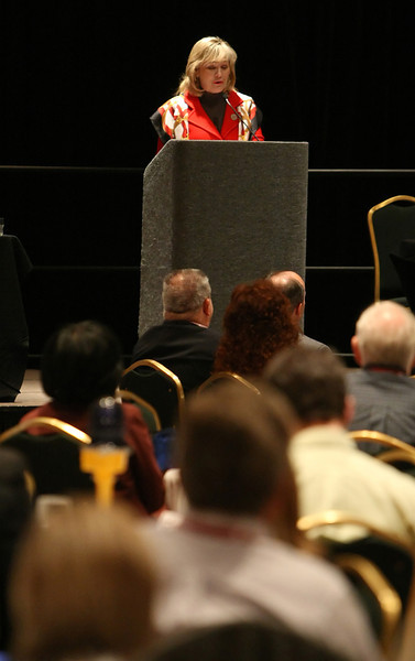 Governor Mary Fallin speaks at the Oklahoma Airport Operators Association Fly Oklahoma conference in Tulsa.