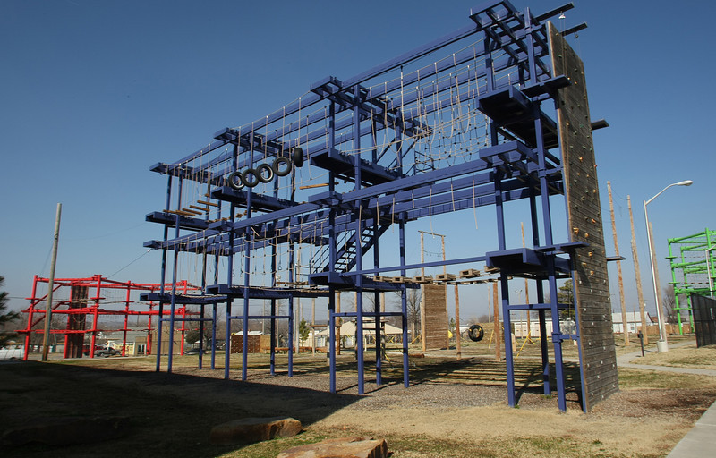 The HelmZar rope course facility in Tulsa.