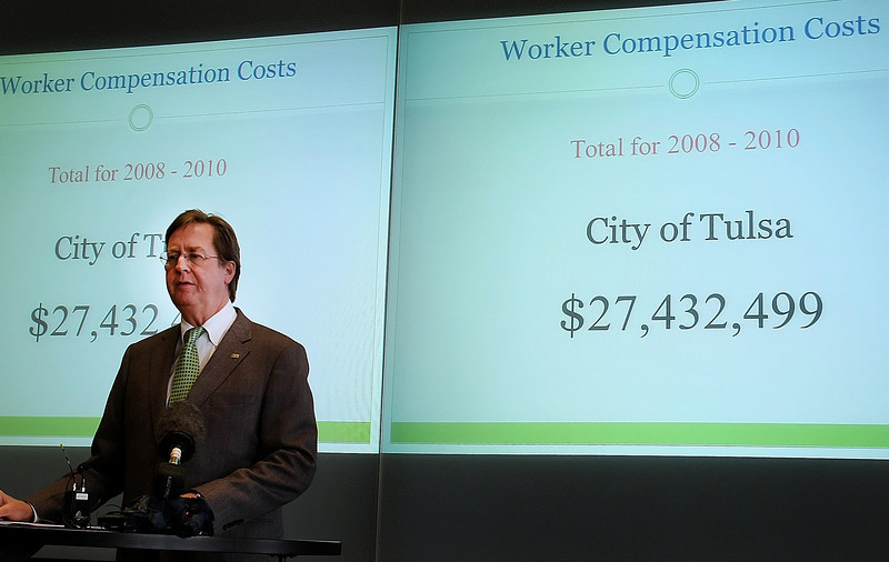 Tulsa Mayor Dewey Barlett Jr. announces signing a contract with DuPont Sustainable Solutions to look into the city's workman's compensation program and attempt to reduce the number of claims.