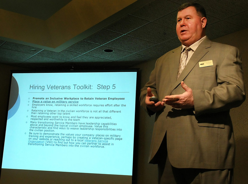 Kenneth Allen, Assistant Sate Director (VETS) for the Department of Labor gives his presentation on hiring returning veterans at theTulsa Area Employer Council Meeting Tueday.