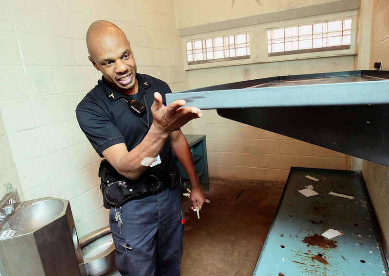 Cpt. Nkema Smith with the  Oklahoma County jail in one of the cells. FILE PHOTO BY MAIKE SABOLICH