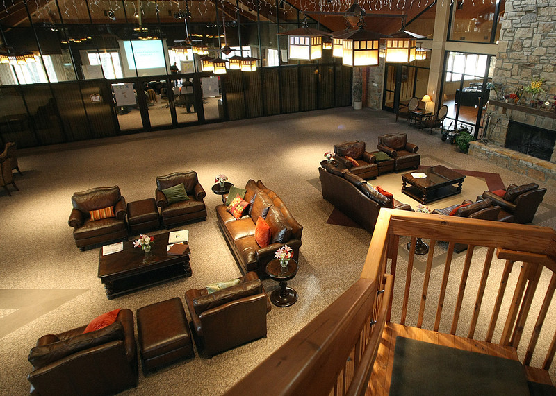 The main room at the Post Oak Lodge in Tulsa.
